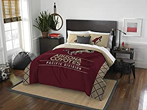 The Northwest Company Officially Licensed NHL Arizona Coyotes Draft Full/Queen Comforter and 2 Sham Set, Red/Gold
