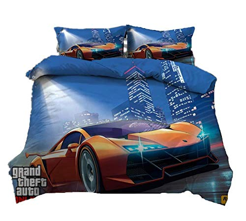 AmenSixye Grand Theft Auto Game 3D Cartoon Duvet Cover Set Twin Full Queen King Size Bedding Set Comforter Cover Bed Linens Home Textile,210x210cm(3pcs)