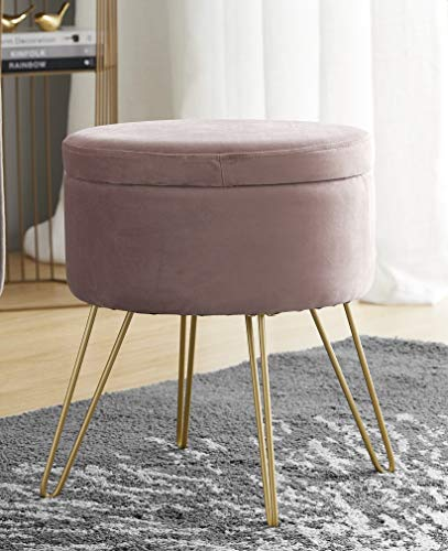 Ornavo Home Modern Round Velvet Storage Ottoman Foot Rest Stool/Seat with Gold Metal Legs & Tray Top Coffee Table - Blush