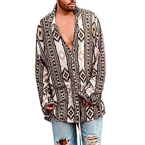 Uomo Casual Manica Lunga Camicia Shirt Slim Fit Shirt Stampa,Camicia Etnica Uomo Stampa Tradizionale Hippy Boho Camicia Uomo Eleganti Slim Fit Casual Manica Corta T-Shirt