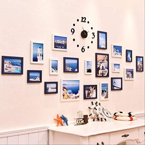 YKDDII fotolijsten opknoping frames voor muur Decor papier muur fotolijst Set Diy bruiloft familie fotolijsten Set muur opknoping 19 stuk klok stijl klassieke mode multifunctionele fotolijst