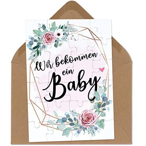 OWLBOOK Wir bekommen EIN Baby rosa Blumenkranz Puzzle mit Brief-Umschlag Geschenke Geschenkideen für die Familie zur Geburt & Schwangerschaft verkünden