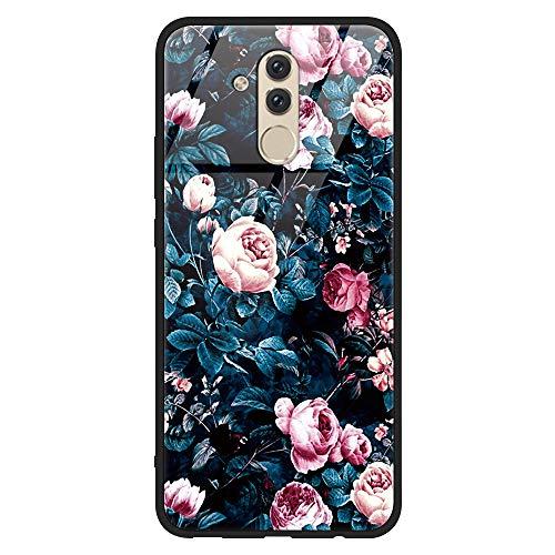 Yoedge Huawei Mate 20 Lite Hülle, Stoßfest Hybrid Schutzhülle [TPU Silikon + Glas Rückseite] mit Muster Motiv Handyhülle Kratzfeste Hardcase Rückschale Cover für Huawei Mate 20 Lite, Blumen