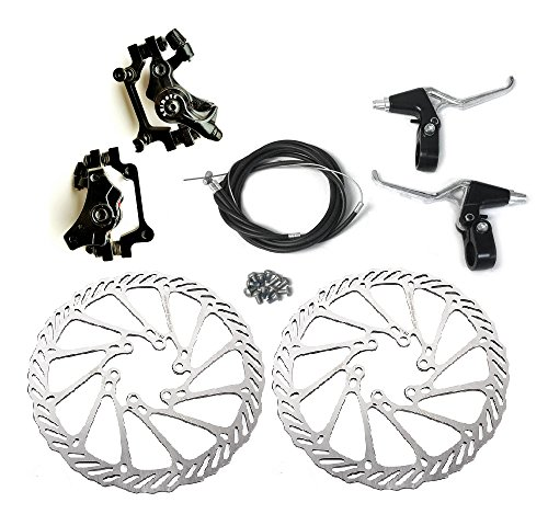 BlueSunshine Front and Back Disk Brake Kit - Aluminum alloy calipers, 2 Pcs stainless steel G3 160 mm Rotors & Cable & Brake Lever & 12 bolts, Freewheel Threaded Hubs Hole distance of 44mm