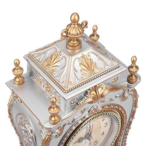 Reloj vintage, hermoso reloj despertador de escritorio 4 pilas AA* con reloj de mesa de plástico (blanco)