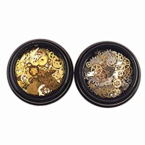 Tebatu Jewelry Accessories,Mini Mixed Steampunk Cogs Gear Clock Charm UV Frame Resin Jewelry Fillings 2 Box