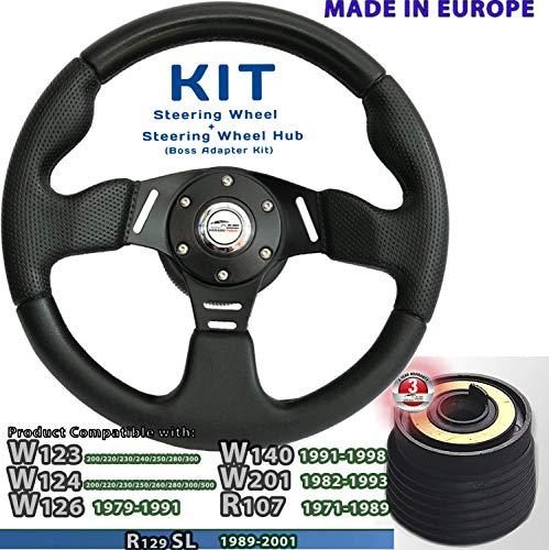 [DTi M10HL 40] DoradoTuning KIT Sportlenkrad & Lenkradnabe/Lenkrad 320mm Special Perforiertem Griffbereich / W201 W123 W124 W126 W140 R107 R129