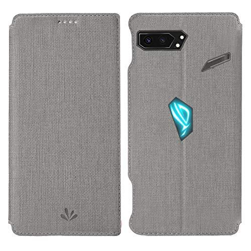HATA ASUS ROG Phone 2 Lederhülle Handyhülle flip case mit Standfunktion Magnetverschluß Kartenfach ASUS ROG Phone 2 Schutzhülle Tasche (ROG Phone2, Gray)