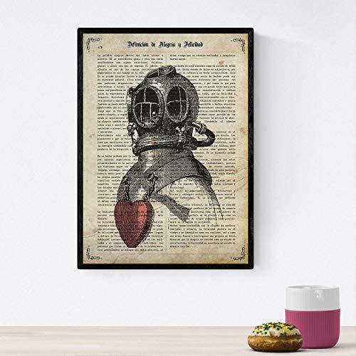 Nacnic Poster de Escafandra Enamorada.Láminas Vintage para decoración de Interiores. Posters con diseño Vintage y definiciones. Tamaño A4 con Marco