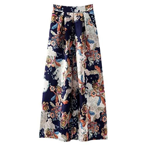 iYmitz Mode Damen A-Line Frühling und Sommer Rock Drucken Lässig Rock Retro Big Rock Blumen Party Kleider Elegant Strandkleid