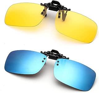 Polarized Clip On Sunglasses Simida Flip Up Frameless Rectangle Lens for Men, Women Prescription Glasses
