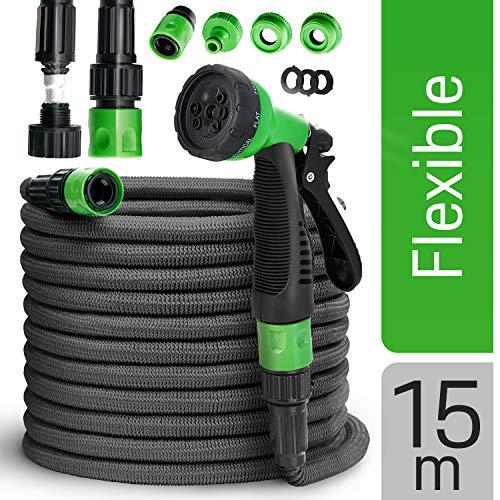 tillvex Flexibler Gartenschlauch 15m schwarz - Testurteil SEHR GUT - Black Edition flexiSchlauch, verbesserte Version 2019, verstärktem Gewebe - inkl. Zubehör - Dehnbarer Wasserschlauch