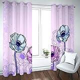 Cortinas Salón Modernas Opacas para Ventanas de Resistente a la Luz Tela Suave y Gruesa con Ojales - Flores púrpuras abstractas 210x180 cm (Ancho x Alto)