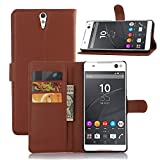 Ycloud Tasche für Sony Xperia C5 Ultra (6 Zoll) Hülle, PU Ledertasche Flip Cover Wallet Hülle Handyhülle mit Stand Function Credit Card Slots Bookstyle Purse Design braun