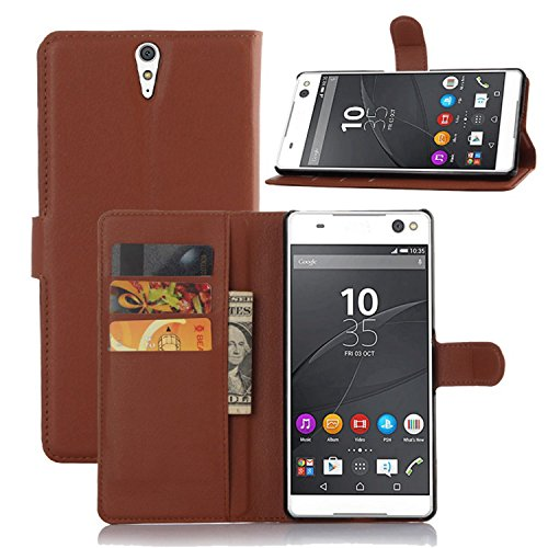 Ycloud Tasche für Sony Xperia C5 Ultra (6 Zoll) Hülle, PU Ledertasche Flip Cover Wallet Case Handyhülle mit Stand Function Credit Card Slots Bookstyle Purse Design braun