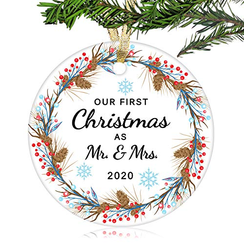 NURIONSS Our First Christmas as Mr & Mrs Ornaments 2020 - Christmas Wedding Decoration Gift for Couple Married Newlyweds - 2.85' Ceramic Ornament(Mr & Mrs 10)