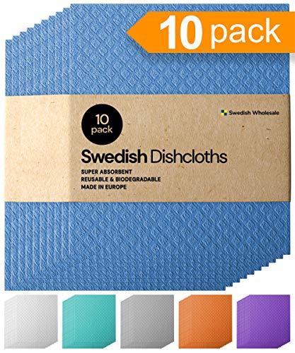 Swedish Cellulose Dish Cloths, Set of 10