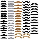 72 Pieces Self Adhesive Fake Mustaches,Assorted Novelty Funny Mustaches for Game,Birthday,Halloween,Masquerade Party