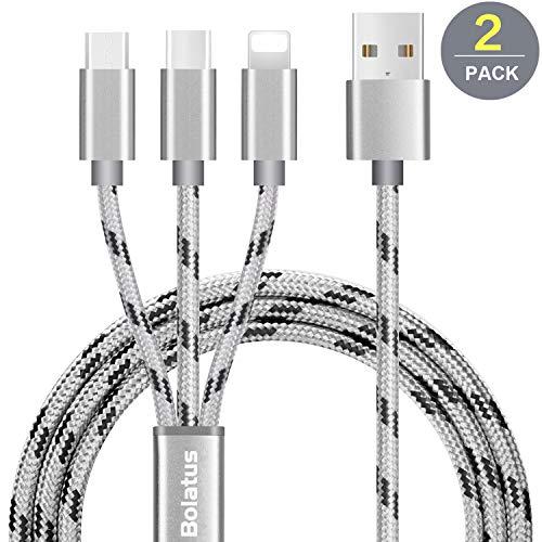 Bolatus Multi USB Cable, 3 en 1 Cable de Carga [2Pack 1m] Múltiple Cable Cargador de Nylon Trenzado Micro USB Tipo C y Relámpago Compatible para Phone Pad y Samsung Galaxy Huawei Andriod - Plata