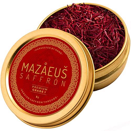 Mazaeus Saffron Premium Pure Organic Saffron Threads for Cooking – [Grade-1] Natural All-Red Persian Saffron Spice for Paella, Tea, Golden Milk, Rice, Desserts – 5 Grams