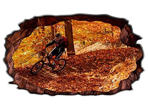 3D Wandtattoo Fahrrad Mountainbike Sport Herbst Bild selbstklebend Wandbild Wandsticker Wohnzimmer Wand Aufkleber 11G206, Wandbild Größe F:ca. 97cmx57cm