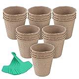 Fippy 60 vasi da semi in fibra biodegradabile da 8,5 cm, vasi rotondi per piantine di erbe, fiori, verdure, con 60 etichette per piante