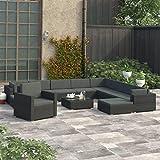 Festnight 8-TLG. Conjunto de salón de jardín con Cojines de polirratán, Color Negro, Conjunto de jardín, sofá de jardín, Negro, 12-tlg