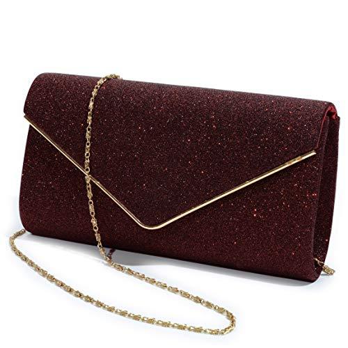 Evening Bag Clutch Purses for Women,Mansherry Ladies Sparkling Party Handbag Wedding Bag Purse Red Burgundy