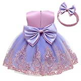CMMCHAAH Toddler Girl Big Bowknot Dresses Baby Little Girls Tulle Lace Wedding Party Ball Gown Dress (Purple+Pink,120)