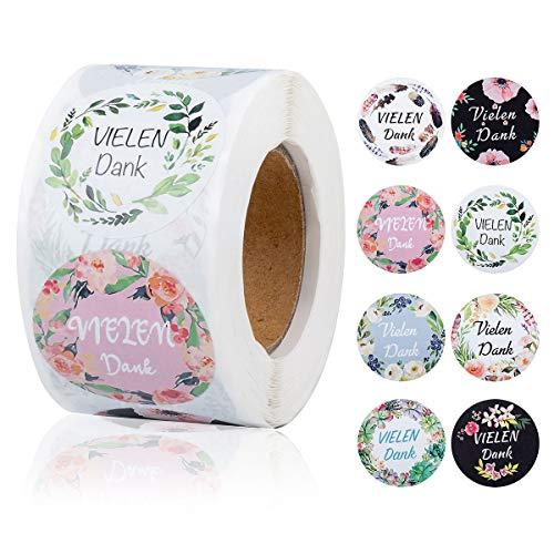 LECOKIT 500 Stück VIELEN Danke Aufkleber|Versandaufkleber |8 verschiedene Farben und Designs|Geschäftsaufkleber für handgefertigte Waren|Hochzeitsaufkleber oder Umschlagsiegel(3.8x3.8cm)