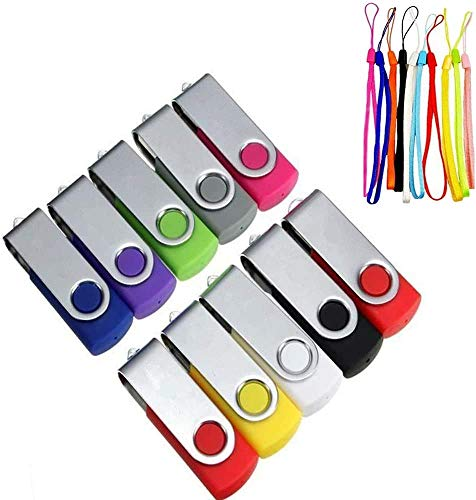 10 Piezas Memorias USB 16GB Pendrives, Mini USB 2.0 Memoria Externo Stick Pen Drive Portátil Flash Drives PenDrives Giratoria Plegable Almacenamiento de Datos Extern con Cuerdas
