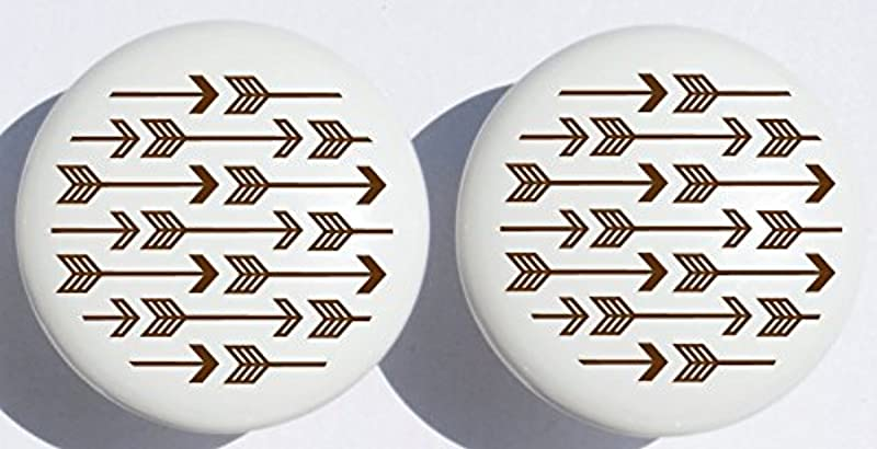 Brown Arrow Print Drawer Knobs Brown Ceramic Cabinet Pulls Woodland Forest Nursery Decor For Baby Boys Or Girls Set Of Two