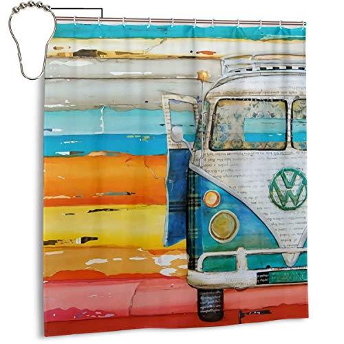Duschvorhang für Badezimmer, Retro, VW-Bus, Stoff-Duschvorhang-Set mit Haken, dekoratives Badezimmer-Zubehör, 167,6 x 182,9 cm