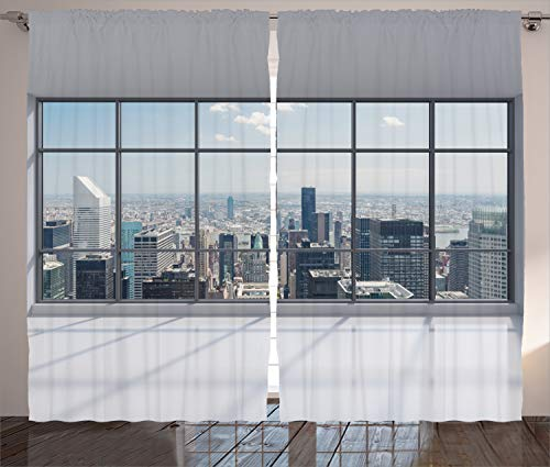 """Ambesonne City Curtains, Clean Office with Big Window Downtown Skyscraper Buildings Domestic Cityscape Art, Living Room Bedroom Window Drapes 2 Panel Set, 108"""" X 90"""", Grey Blue"""