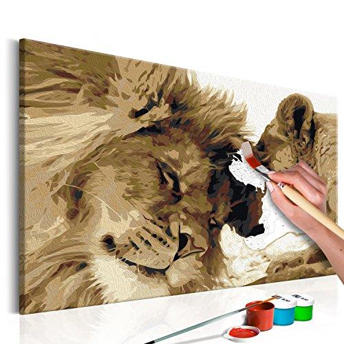murando - Malen nach Zahlen Löwe 60x40 cm Malset mit Holzrahmen auf Leinwand für Erwachsene Kinder Gemälde Handgemalt Kit DIY Geschenk Dekoration n-A-0222-d-a