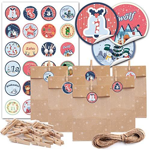 JOKBEN Adventskalender Zum Befüllen, 24 Schnee Motiv Geschenktüten mit Weihnachtlichen Aufkleber-Zahlen, 24 Holz Miniklammern und 10m Jute Hanfseile, zum selber Basteln und Befüllen 15 x 27 cm