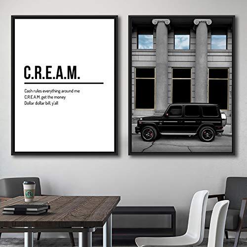 Impresiones de pintura en lienzo Definición de crema Cita Pintura de pared Retro Coche guapo Decoración moderna para el hogar Impresión de lienzo Póster 70x100cm-2pcs Sin marco