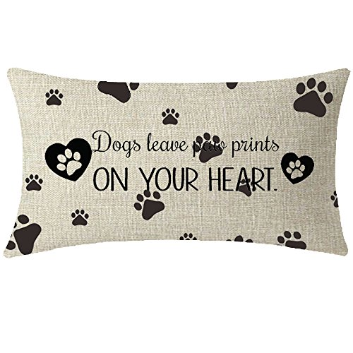 NIDITW Nice Animal Dog Lover Gift With Funny Quote Words Dog Leave Paw Prints On Your Heart Waist Lumbar Throw pillow case Cushion cover pillowcase for Sofa home decorative Rectangle 12'X 20'