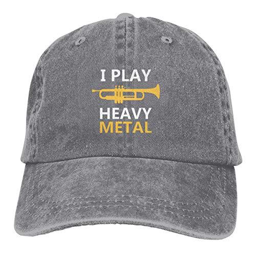 Cl4zyott I Play Heavy Metal Unisex Klassische Baseballkappe verstellbar Vintage Trucker Cap Sonnenhut Schwarz Gr. Einheitsgröße, grau