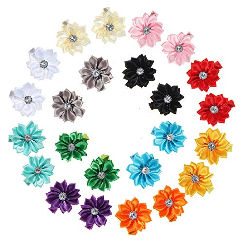 inSowni 24 Pack/12 Pairs Lined Alligator Hair Clips Pigtail Barrettes Small Satin Flower with Rhinestone for Baby Girls Toddlers Infants Kids