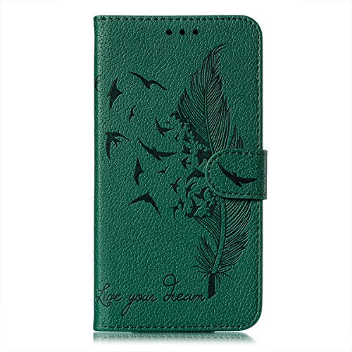 Unichthy For Samsung Galaxy A02S Case Flip 3D Feather Embossed Shockproof Wallet Cover Magnetic Buckle Notebook with Card Slots Kickstand Bumper Protective Phone Case for Samsung Galaxy A02S Green