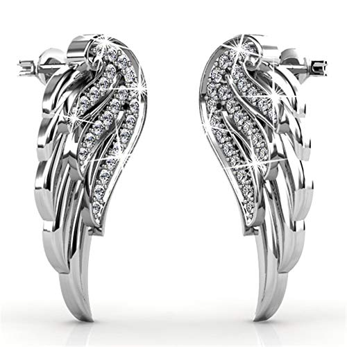 DESTINY Angelina Angel Wings Earrings (19mm) made with Crystals from Swarovski Certified Genuine Swarovski Crystals. Jewellery for women, 925 Sterling Silver