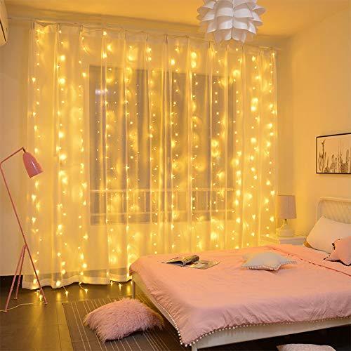 LiyuanQ Lichterketten Vorhang,3*3m 300 LEDs USB LED Lichtervorhang Wasserdichte 8 Modus Fernbedienung Timer Fenster...