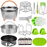 Aiduy 18 pieces Pressure Cooker Accessories Set Compatible with Instant Pot 6,8 Qt - 2 Steamer Baskets,...