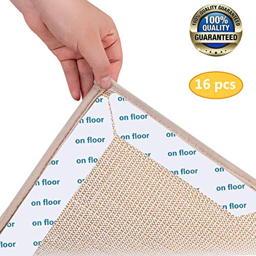 Eyscoco Teppich Anti Rutsch Unterlage,16 Stück Antirutschmatte Für Teppich,Teppichgreifer rutschfeste Teppichunterlage Waschbar,Wiederverwendbarer Teppichaufklebe Starke Klebrigkeit Rutschschutzmatte