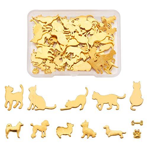 Fashewlery - Confezione da 60 pezzi in lega per animali domestici, in resina epossidica UV, resina epossidica pressata per creare gioielli artigianali