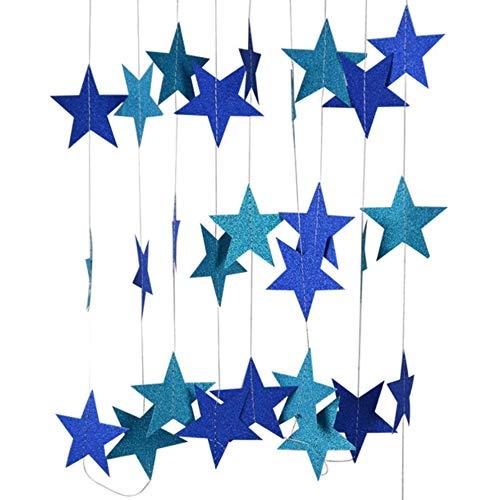 DIWULI, 4 m XXL Sternen-Girlande zum Aufhängen, Sternchen Wimpel-Kette blau, Sternen-Banner Geburtstagsfeier, Garten-Party, Party, Mädchen Jungen Kinderzimmer, Schlafzimmer, Dekoration, verschönern