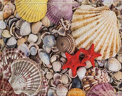 lovedomi Verano Tropical Clima oceánico Animales mar Profundo Estrella mar Amarilla Conchas Playa Alfombra baño Puerta Antideslizante Entrada Piso Alfombra Delantera Interior Alfombrilla para niños