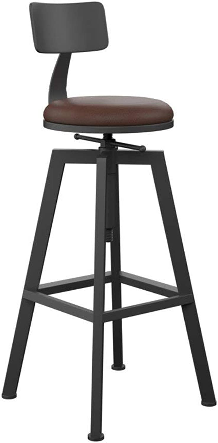 Retro Dining Chair Adjustable Wrought Iron Solid Wood High Stool Creative Bar Chair with Backrest, Lifting 65cm-85cm, Kitchen Restaurant Bar (color   D)