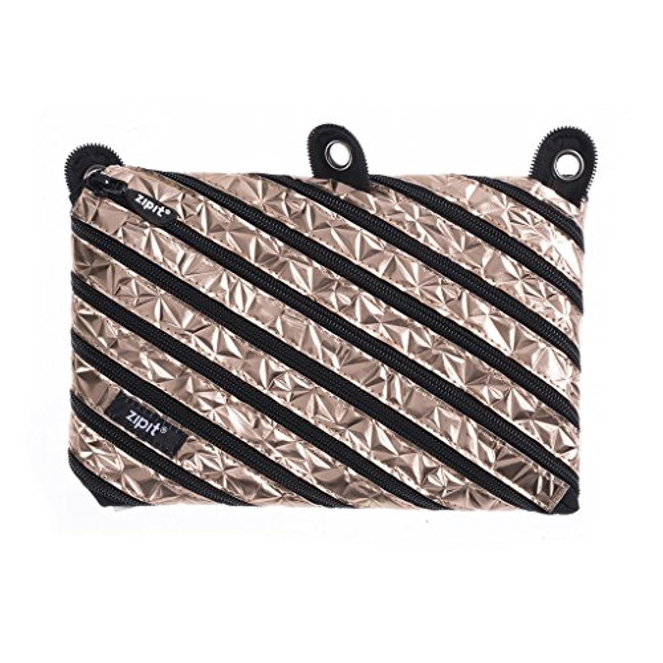 ZIPIT Metallic 3-Ring Pencil Case, Rose Gold